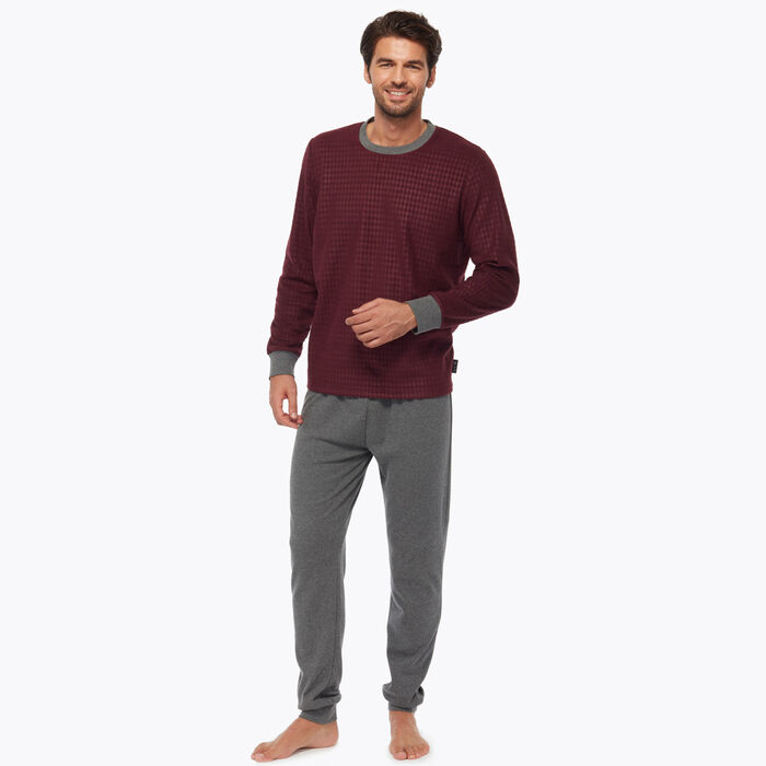 Bordeaux Men's pyjama set burgundy with geometric print, , DIM