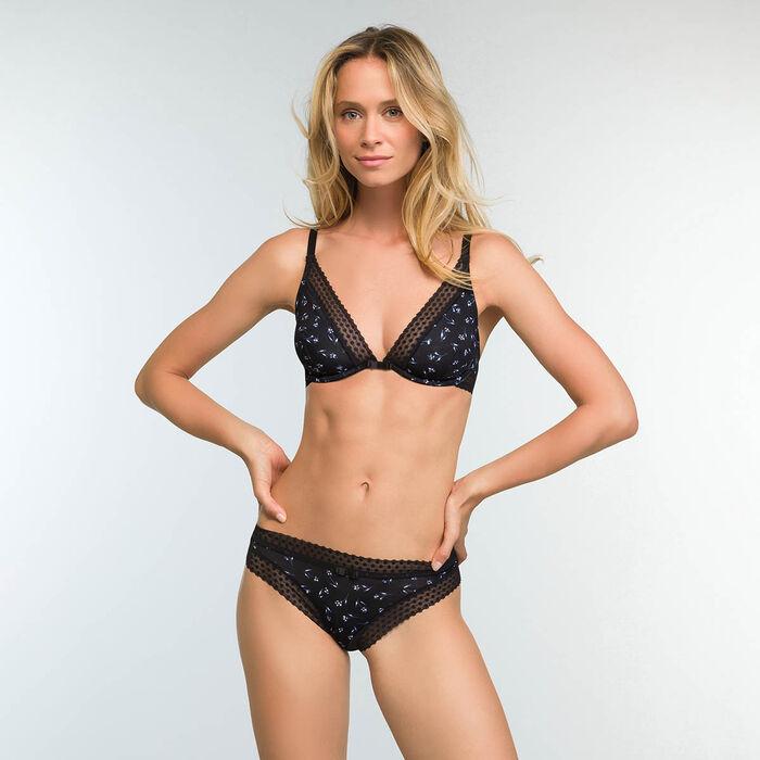 Trendy Micro Floral Print Triangle Push up bra, , DIM