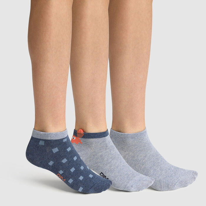 Pack of 3 pairs of crab print denim cotton crab socks for children, , DIM