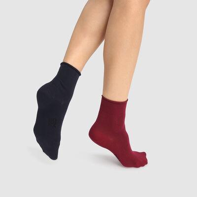 Lot de 2 paires de chaussettes modal bordeaux bleu marine Dim Modal, , DIM