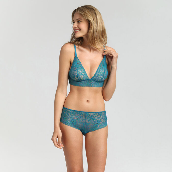 Non-wired Lagoon Blue triangle bra Coco Tropical by Dim, , DIM