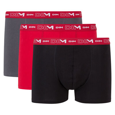 Pack of 3 pairs of Coton Stretch grey, chilli red and black trunks, , DIM