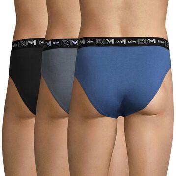 Lot de 3 slips bleu, gris souris et noir - Coton Stretch, , DIM