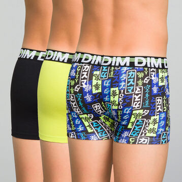 3 pack black, yellow and printed blue trunks - Trio DIM, , DIM