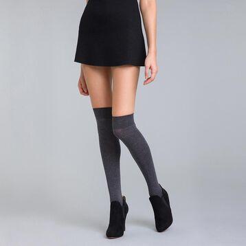 Chaussettes hautes anthracite chiné  Coton Style Femme-DIM