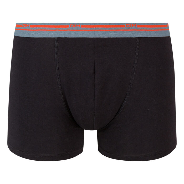 Boxer noir en coton stretch à ceinture contrastée Classic Colors, , DIM