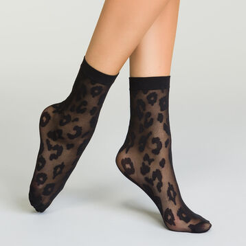 Women's black socks with knitted Leopard print Style, , DIM