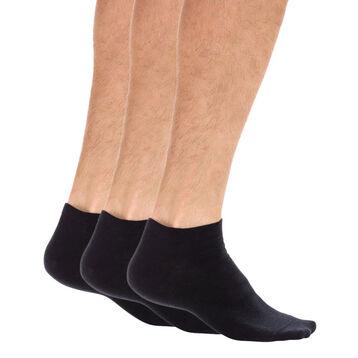 Lot de 3 paires de socquettes invisibles noires Homme-DIM