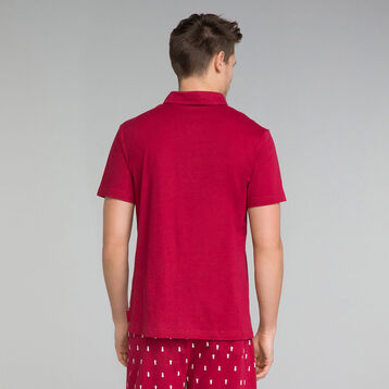 Red pyjama polo with front pocket - Mix and Match , , DIM