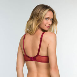 Cherry Red full cup underwired bra with embroidery Generous MOD, , DIM
