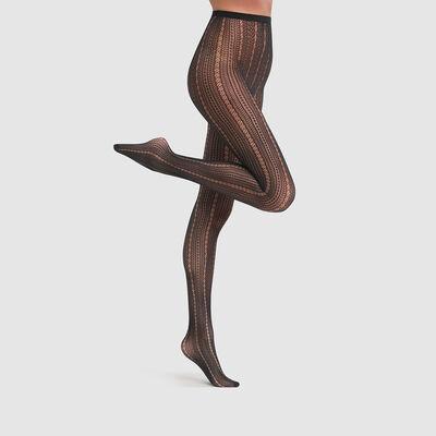 Полупрозрачные колготки в сетку с кружевными швами Dim Style 73D черного цвета, , DIM