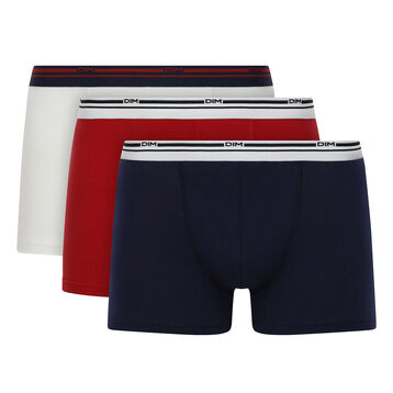 Lot de 3 boxers coton Bleu Denim, Blanc, Rouge Lave Daily Colors, , DIM