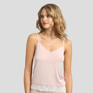 Dim Cosy Lady nude pink lace and modal cotton camisole , , DIM
