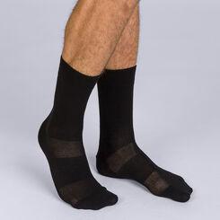 Pack of 2 pairs of black Homme 3D Flex mid calf socks for men, , DIM