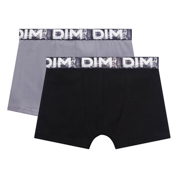2 pack black and grey trunks with printed waistband - Box Japon, , DIM