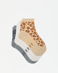 Lot de 3 paires de socquettes femmes imprimé animaux Dim Pockets, , DIM