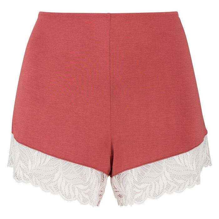Dim Cosy Lady marsala lace and modal cotton pyjama shorts , , DIM