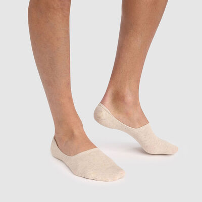 Lot de 2 protèges pieds hommes beige en coton peigné Basic Coton, , DIM