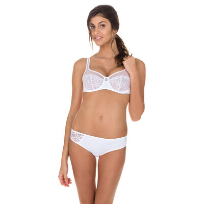 White Generous MOD embroidered underwired bra, , DIM