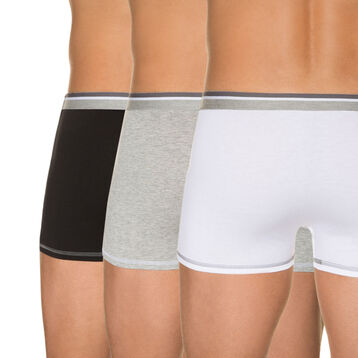 Pack of 3 pairs of white, grey marl and black pure cotton trunks, , DIM