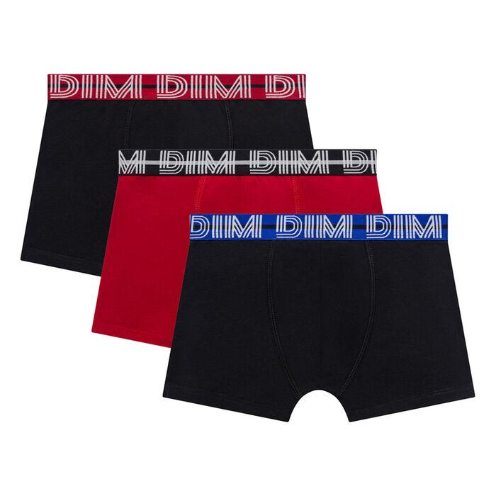 Pack de 3 bóxers niño de algodón elástico negros y rojo - Coton Stretch, , DIM