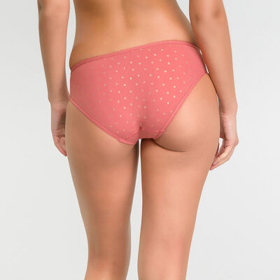 Microfiber pink brief with golden dotted swiss - Dim Generous, , DIM