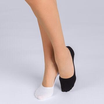 Lot de 2 protège-pieds coton noir et blanc Femme Basic Coton-DIM