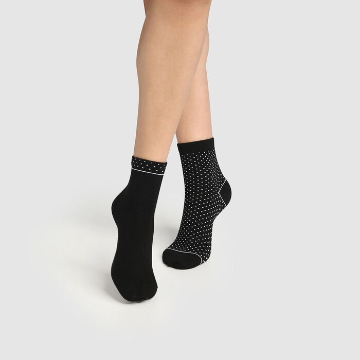 Pack of  2 pairs of organic cotton women's socks with polka dots Black Green by Dim, , DIM