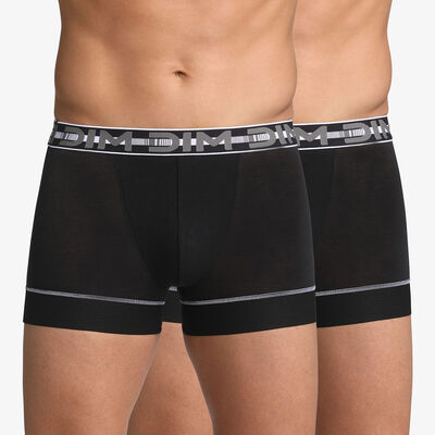 Pack of 2 pairs of black 3D Stay & Fit trunks, , DIM