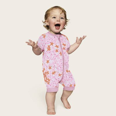 Zipped romper in cotton stretch with pink stripes Dim Baby, , DIM