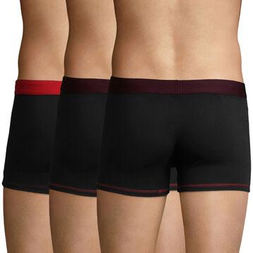 Lot de 3 Boxers Noir, Aubergine Foncée et Rouge Baie Mix and Colors, , DIM
