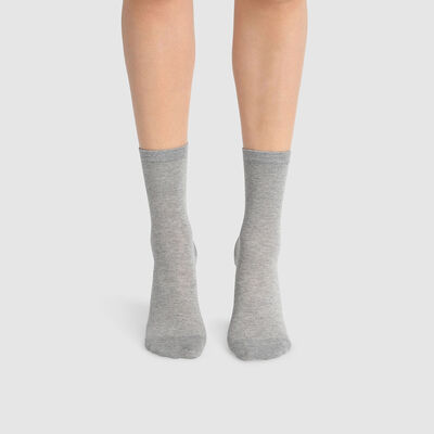 Green by Dim pack of 2 pairs of women's cotton and lyocell socks Grey, , DIM