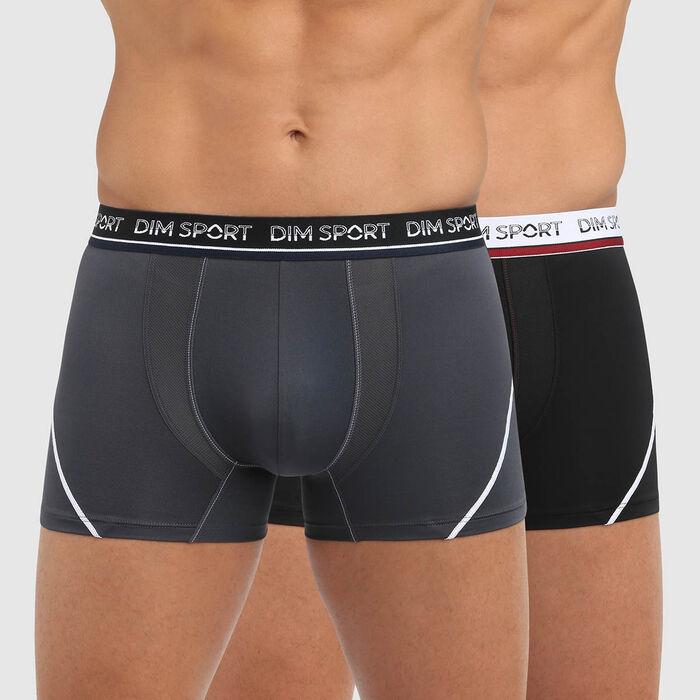 Набор 2шт.: Черные и серые мужские боксеры из микрофибры с защитой от пота Dim Sport, , DIM