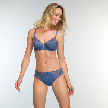 Porcelain Blue Lace and Microfiber Briefs Sublim Dentelle, , DIM