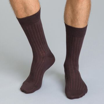 Basic Coton men's plain brown socks, , DIM