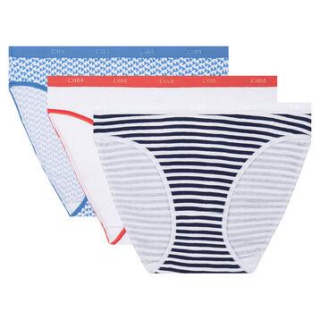 3 pack french riviera print briefs Les Pockets Coton Stretch de Dim, , DIM
