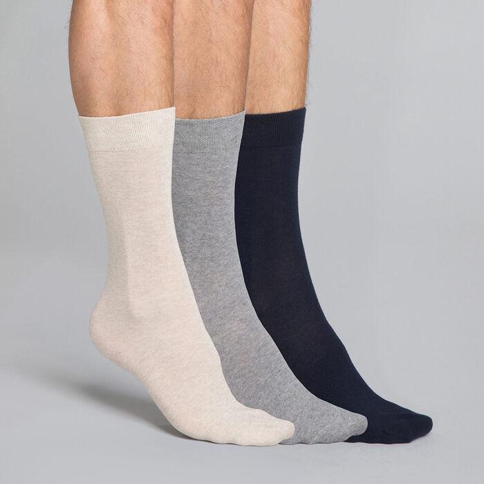 3 pack cotton blue, beige and grey Men's Crew Socks , , DIM