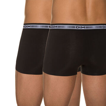 Pack of 2 pairs of black 3D Flex stretch cotton trunks, , DIM