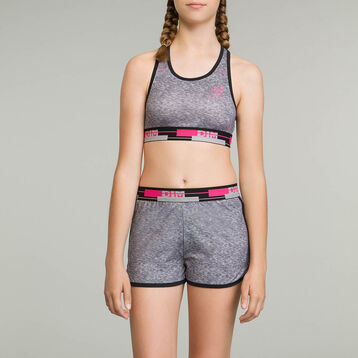 DIM Girl sports bra in heather grey, , DIM