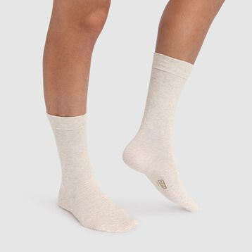 Mottled Beige Men's Crew Socks in cotton, , DIM
