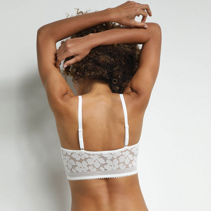 White Daily Glam padded floral lace bralette, , DIM