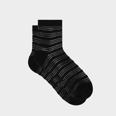 Women's sock in cotton and striped voile Black Cotton Style, , DIM