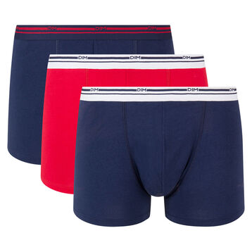 3 Pack stretch cotton trunks Denim Blue and Lava Red Daily Colors, , DIM