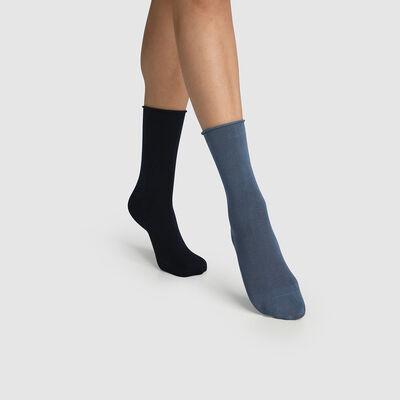 Набор 2 шт.: синие женские носки из модала Dim, , DIM