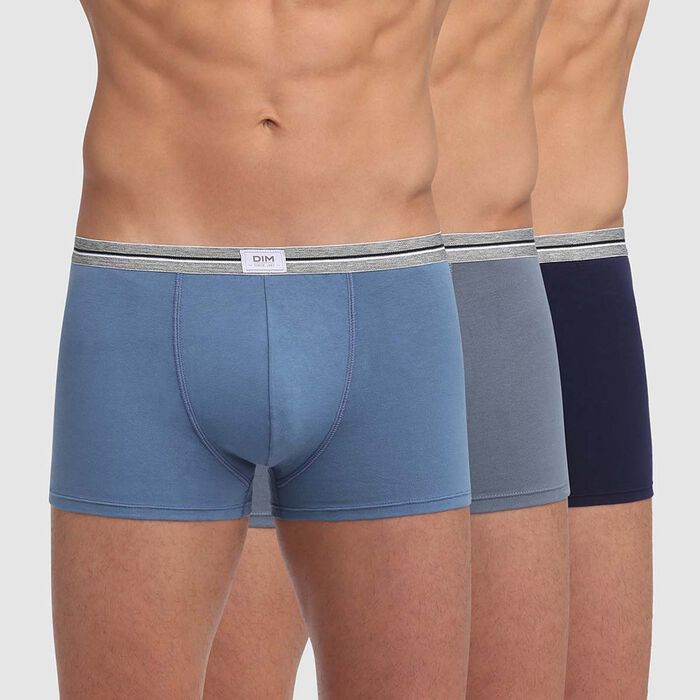 Ultra Resist 3 pack resistant stretch cotton trunks in grey and jeans blue, , DIM