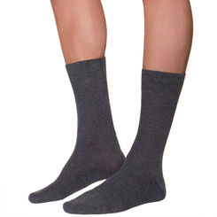 Charcoal men's ribbed mid calf socks, , DIM