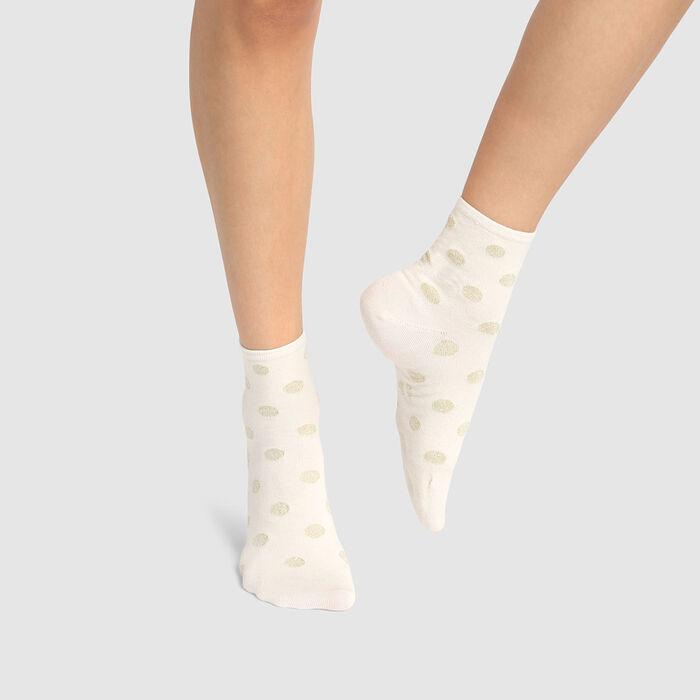 Socquette femme en coton motif pois lurex Ivoire Or Coton Style, , DIM