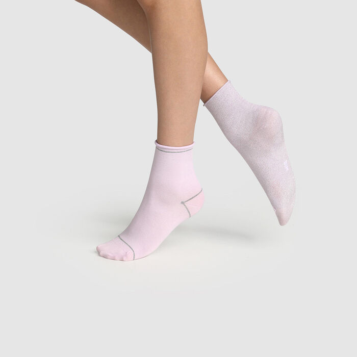 Pack of  2 pairs of women's socks lurex silver Lavender Cotton Style, , DIM