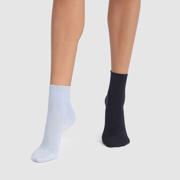 Dim Modal 2 pack  modal socks in navy blue and cashmere blue, , DIM