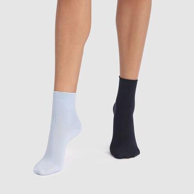 Lot de 2 paires de chaussettes modal bleu marine cachemire Dim Modal , , DIM